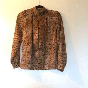 Nicola vintage cheetah mock neck long sleeve top